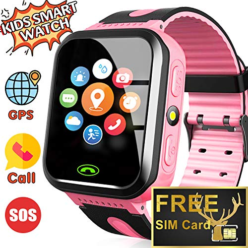 [Included SIM Card] Kids Smart Watch - GPS Tracker Kids Smart Watches for Boys Girls with Two-Way Calls SOS Anti-Lost Real Time Monitor Child Wrist Watch for Xmas Holiday Toys Gifts