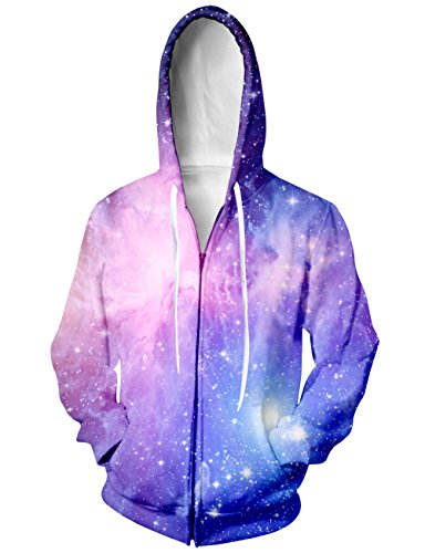 RAISEVERN Men's Galaxy Outer Space Hoodies Fashion Casual Hooded Sweatshirt Zipper