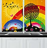 Ambesonne Rainbow Kitchen Curtains, Silhouette of a Tree on Hill with Sun and Two Rainbows Spring Time Flowers, Window Drapes 2 Panel Set for Kitchen Cafe, 55 W X 39 L Inches, Marigold Multicolor Review