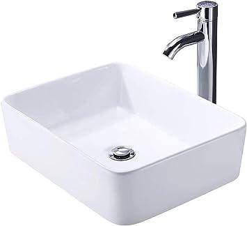 Kes Bathroom Vessel Sink With Faucet And Drain Combo Bathroom Counter Top Sink Rectangular White Ceramic Porcelain Vanity Bowl Farmhouse Sink Chrome Faucet Bvs110 C1 Amazon Com