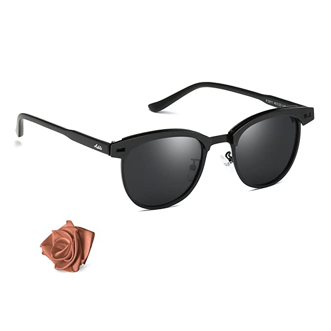 Aiblii Clubmaster Steampunk gafas de sol redondas para hombres mujeres Half Frame semi-sin montura UV400 Protection Classic gafas de sol polarizadas: ...