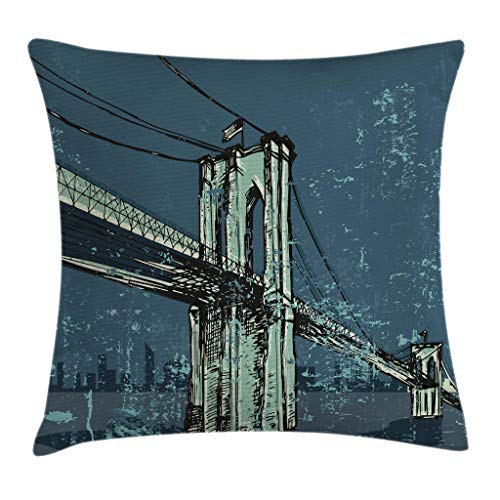 "Ambesonne Urban Throw Pillow Cushion Cover, Hand Drawn Brooklyn Bridge Sketch Grunge New York City USA Artwork, Decorative Square Accent Pillow Case, 20"" X 20"", Petrol Blue"