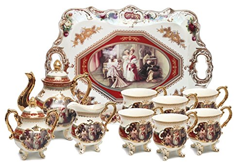 - Euro Porcelain 12-Pc. White Vintage Tea Cup & Serving Set w/Tray, 24 kt Gold Plated Trim w/Red Antique