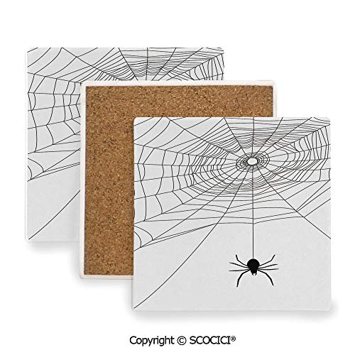 Ceramic Coasters with Cork Base, Prevent Furniture from Dirty and Scratched, Suitable for Kinds of Mugs and Cups,Spider Web,Complex Doodle Net Sticky Gossamer Hunting,3.9
