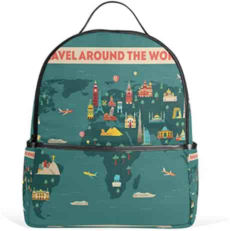a0d0755488e7 ... JSTEL World Travel Map School Backpack 2th 3th 4th Grade for Boys Teen  Girls Kids official ...