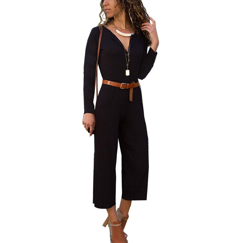 Lanyan Womens Summer Casual V-Neck Sexy Long Sleeve Holiday Long Playsuits Trouser Jumpsuit Romper