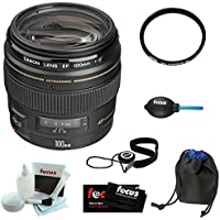 Canon EF 100mm f/2 USM Telephoto Lens for Canon SLR Cameras with Lens Pouch and Deluxe Accessory Kit