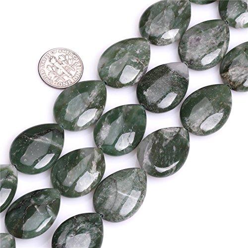 JOE FOREMAN 18X25mm Green African Jade Semi Precious Gemstone Flat Drop Loose Beads for Jewelry Making DIY Handmade Craft Supplies -