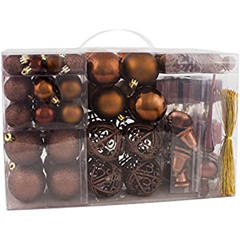 brubaker 102 pack assorted christmas ball ornaments shatterproof with green pickle and tree topper designed in germany brown