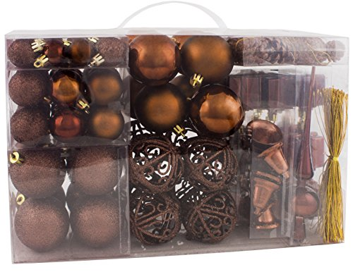 BRUBAKER 102 Pack Assorted Christmas Ball Ornaments - Shatterproof - with Green Pickle and Tree Topper - Designed in Germany - Brown