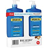 Marc Anthony Argan Oil of Morocco Shampoo and Conditioner Set 1 Liter/each with Pump, Sulfate Free
