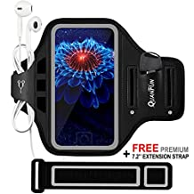 """Sports Armband for iPhone 7 6/6s, Galaxy S8/S7/S6, QUANFUN Running Fitness Workout Phone Case Bag Gym Jogging Runners Arm Band with Extension Strap Wristband for Men/Women, Fits 4.7"""" to 5.1"""" Smartphone"""