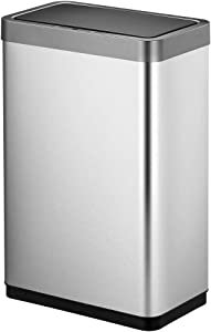 EKO Mirage X 68 Liter / 17.9 Gallon Motion Sensor Trash Can, Brushed Stainless Steel Finish