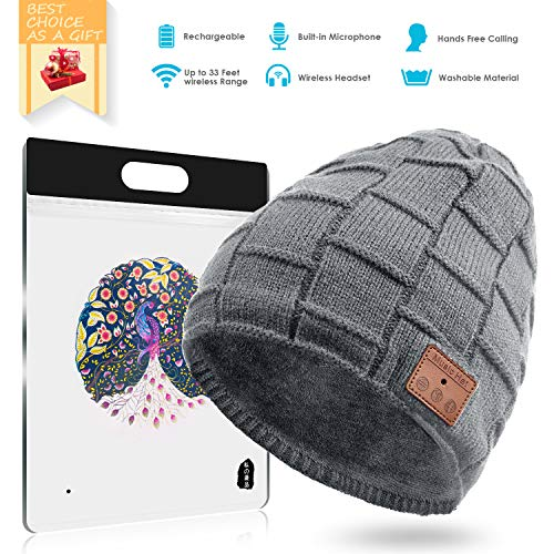 BLUEHRESY Bluetooth 4.2 Warm and Thick Slouchy Knit Beanie Hat Cap 6-8 Hours Long Working Time, 150 Hrs Standby HandsFree (Gray)