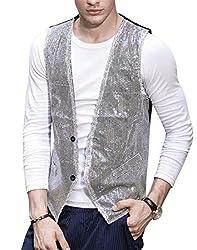 Men Slim Fit Shiny Sequins Waistcoat