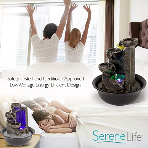 SereneLife 4-Tier Desktop Electric Water Fountain Decor w/ LED - Indoor Outdoor Portable Tabletop Decorative Zen Meditation Waterfall Kit Includes Submersible Pump & 12V Power Adapter by SereneLife (Image #6)