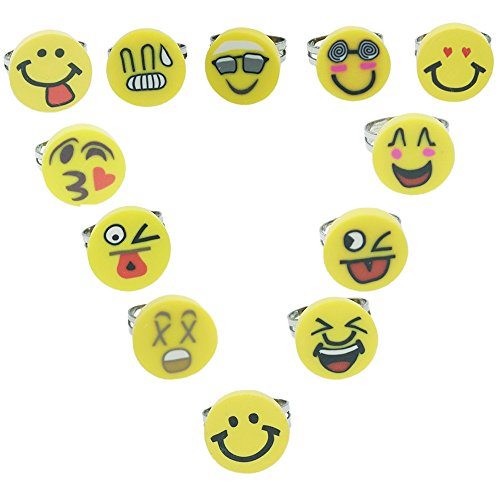 Naughty Fire Girl Costume (R2K Emoji Party Favors Emoticon Smiley Happy Face Rubber Rings 24 Rings per Unit)