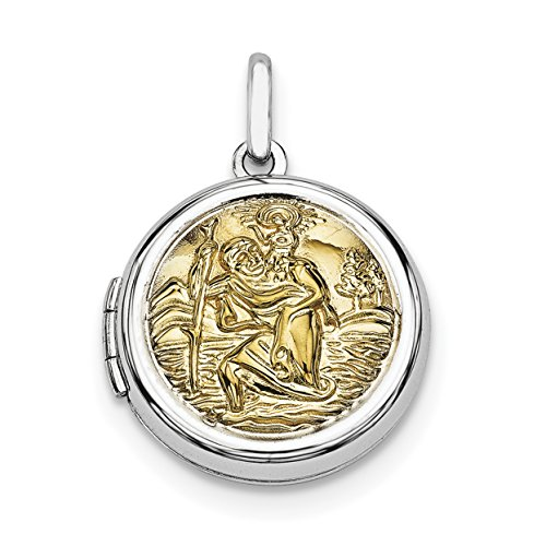Ice Carats 925 Sterling Silver Gold Plate Round Saint Christophers Photo Pendant Charm Locket Chain Necklace That Holds Pictures Shaped