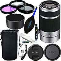 Sony E 55-210mm (SEL55210) F4.5-6.3 OSS Lens for Sony E-Mount Cameras (Silver) 12 PCS Expo Accessories Bundle.