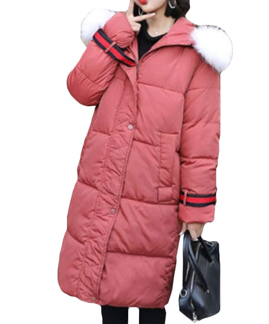 1 Esast Women's Thick Faux Fur Hood Long Down Coats Winter Outwear