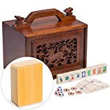Yellow Mountain Imports Traditional American Mahjong Set with Bone and Bamboo Tiles and 5-Drawer Rosewood Box, Qilin