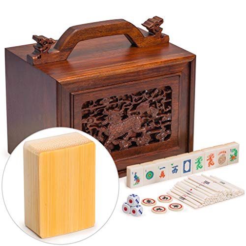 Yellow Mountain Imports Traditional American Mahjong Set, Bone and Bamboo Tiles with 5-Drawer Rosewood Case Qilin - A Set of Betting Sticks, Pair of Dice, Four Winds - Rosewood Tile Box