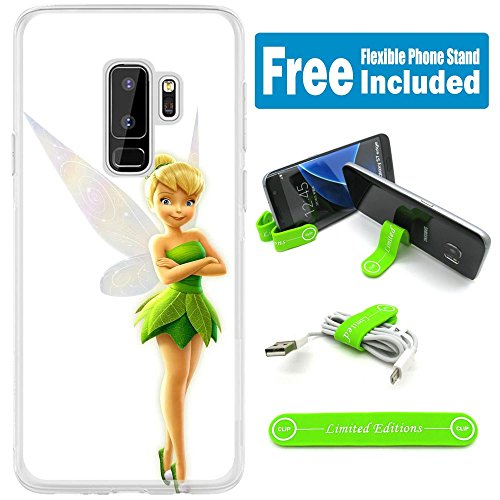 [Ashley Cases] For Samsung Galaxy [ S9+ ] [ S9 Plus ] Cover Case Skin With Flexible Phone Stand - Tinkerbell White G