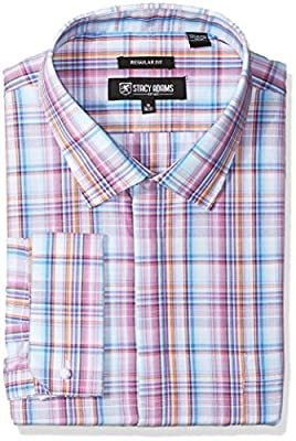 Stacy Adams Men's Big and Tall Bold Plaid Classic Fit Dress Shirt