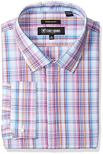 Stacy Adams Men's Big and Tall Bold Plaid Classic Fit Dress Shirt, Multi, 22