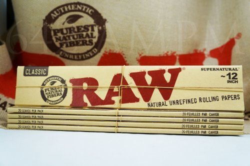 Raw Supernatural 12'' Inch Foot Long Rolling Paper Classic 5 Pack by Raw Threads