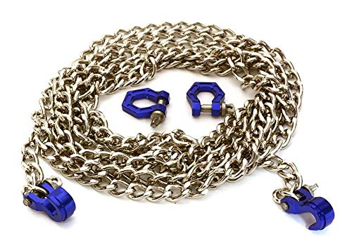 (Integy RC Model Hop-ups C27172BLUE Realistic 1/10 Size Drag Chain & Tow Hooks w/Bow Shackle for Off-Road Crawler)