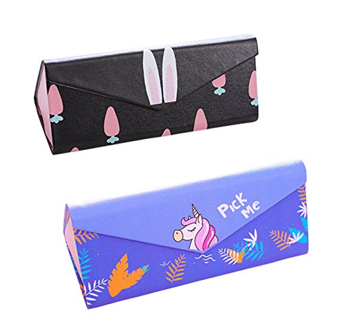 Eyeglasses Case Foldable Sunglasses Case Print Glasses Holder 2Pcs (Unicorn Print) by Sheliky