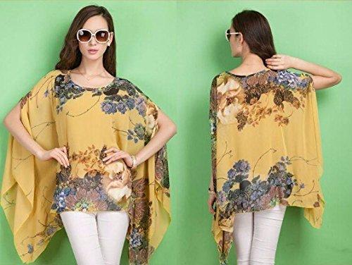 QIYUN.Z Gasa Irregular Dobladillo Asimetrico Floral Manga Kimono De Impresion Blusa Camiseta Amarillo