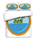 iPrint 3Pcs Duvet Cover Set,Ocean Island Decor,Graphic of Tropic Island View from The Bronze Ship Window with Palm Trees,Blue Green Orange,Best Bedding Gifts for Family/Friends