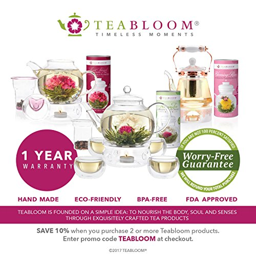 Teabloom Flowering Teas Gift Set Collection - 36 Assorted Blooming Teas in a Variety of Flavors and Flowers - Gift Box includes 3 Unique and Beautiful Flowering Tea Canisters - Makes 750 Cups of Tea by Teabloom (Image #8)