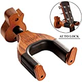 Guitar Wall Mount, Auto Lock Guitar Wall Hanger, Hard Wood Base in Guitar Shape Guitar Hook, Guitar Holder, Acoustic, Electric, Classical, Bass Guitar Stand