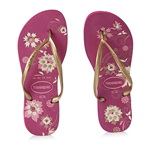 Havaianas Sottile Organico Flip Flops Donne Piatto - Blu Navy UK 8 - Reggiseno 41/42 Rosa Lampone
