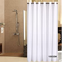 Sfoothome Small Polyester Shower Curtain Waterproof/ No More Mildews Bathroom Hookless Curtains,White( 36 Inch Wide x 72Inch)