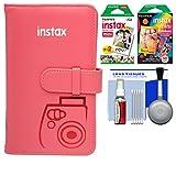 Fujifilm Instax Mini Wallet 108 Photo Album (Raspberry) with 20 Color Prints & 10 Rainbow Prints + Kit for 7S, 8, 25, 50S, 90 Cameras