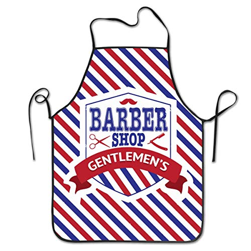 (Nienxksecc Kitchen Apron Vintage Emblem of Barber Shop Flag Bib Aprons Women Men Professional Chef Aprons with Extra Long Ties, Waterproof Waiter Hostess Apron for Wedding Cooking)