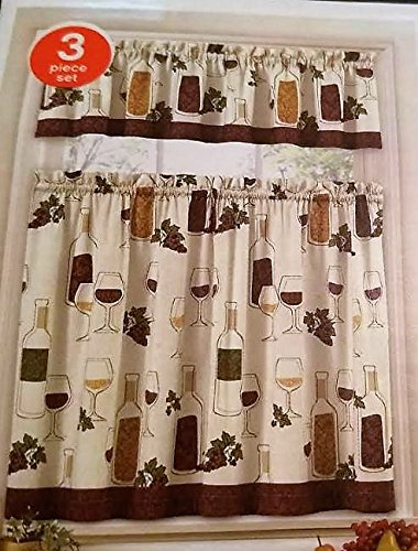 Home Fashions Wine Bottles Grapes Kitchen Window Curtain Set 3 Pc ()