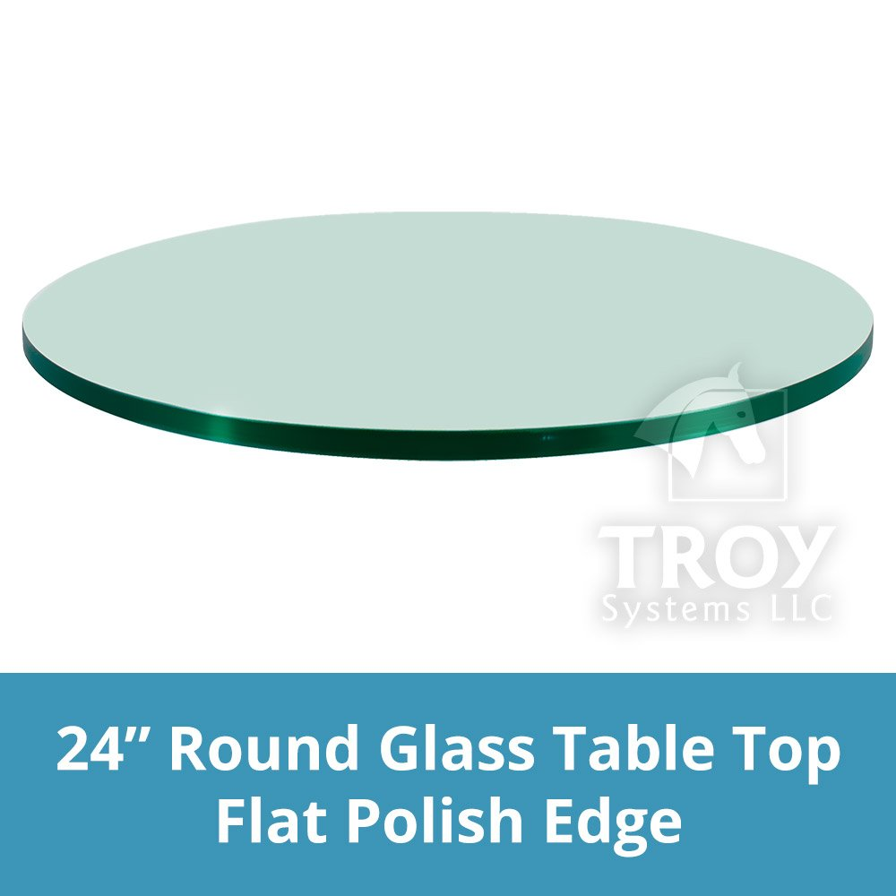 TroySys Glass Table Top, Flat Polish Edge, Tempered Glass, 24'' L Round