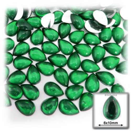 The Crafts Outlet 144-Piece Acrylic Flatback Cabochons Teardrop Beads, 6 by 10mm, Emerald Green