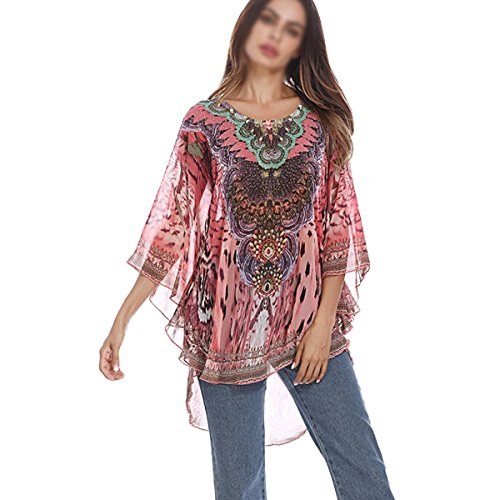 Artsy Edges - Sun Kea Beach Loose Blouse Tunic Tops Embroidery Chiffon Tops Women Batwing Sleeve Top Loose Shirt Drape (Red)