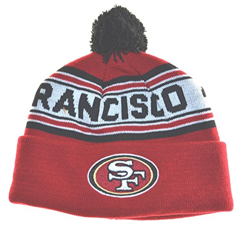 OuterStuff NFL Boys 4-7 Cuffed Knit With Pom Hat-Crimson-1 Size, San Francisco 49ers