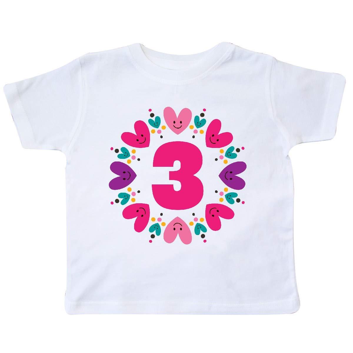 inktastic 3rd Birthday Heart Wreath Girls Toddler T-Shirt