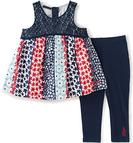 [Tommy Hilfiger Little Girls' Toddler 2 Piece Knit Legging and Tunic Set, Dark Blue, 4T] (Knit Two Piece Set)