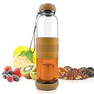 InfuseTea Bottle   Premium 17 Oz Borosilicate Glass Tumbler with Silicone Cover and Stainless Steel Loose Leaf Strainer for Herb Coffee Fruit   Travel Strap Included   767.2 (Brown)