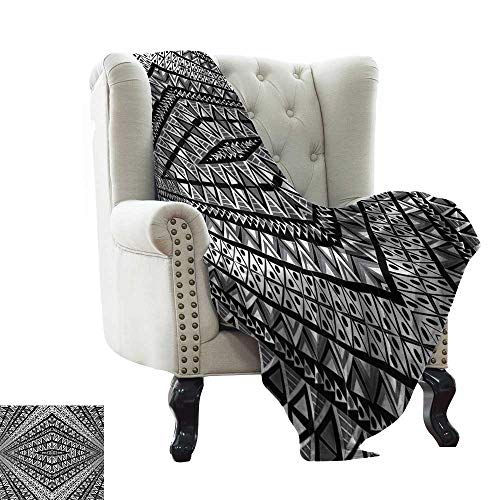 (Weighted Blanket for Kids Psychedelic,Geometric Dimension Ornament Motif with Triangle Diamond Forms Oriental Image,Black White All Season Light Weight Living Room/Bedroom 70