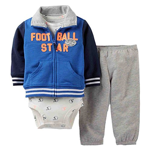 Carter's Infant Boys 3 Piece Set Football Star Jacket Sweat Pants & Bodysuit 3m Blue